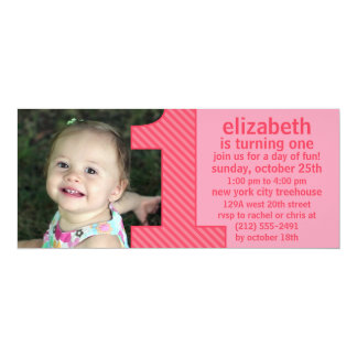 Princess Pink One Is Fun Photo First Birthday Part 10 Cm X 24 Cm Invitation Card