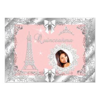 "Princess Pink PEACH Quinceanera Silver Photo 2 5"" X 7"" Invitation Card"