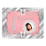 Princess Pink PEACH Quinceanera Silver Photo BIG 17 Cm X 22 Cm Invitation Card