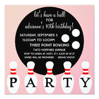 Princess Pink Pin Party Bowling Birthday Party 13 Cm X 13 Cm Square Invitation Card