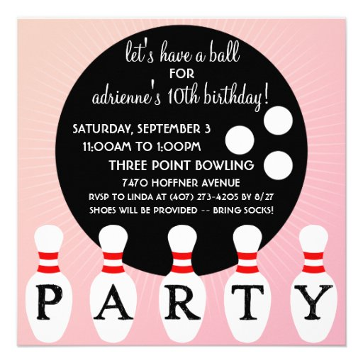 Princess Pink Pin Party Bowling Birthday Party Custom Announcement