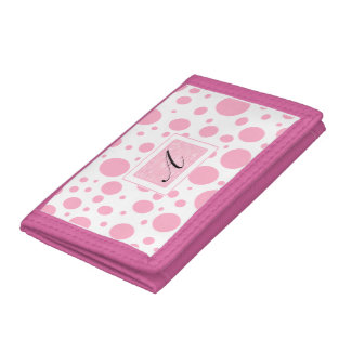 Princess Pink Polka Dots with Her Initial Trifold Wallets