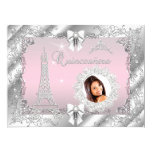 Princess Pink Quinceanera Silver Photo BIG 17 Cm X 22 Cm Invitation Card