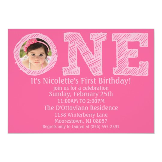 Princess Pink The Big One Photo First Birthday 13 Cm X 18 Cm Invitation Card