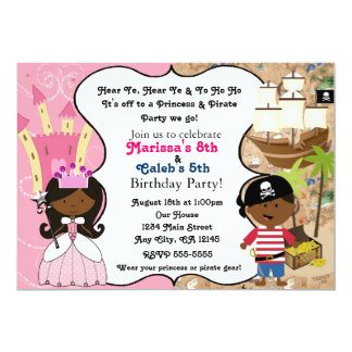 Princess & Pirate Dark Skin Ethnic Invitations Card