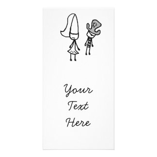 Princess & Pirate Doodle Photo Greeting Card