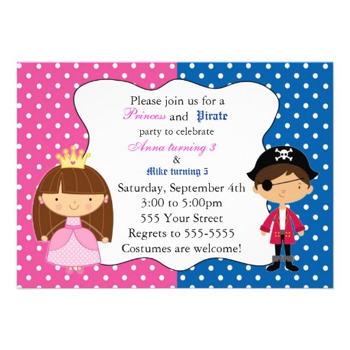 Princess Pirate Invitation with Polka Dots