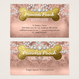 Princess Pooch Dog Care Vet Walker Bone Rose Gold Business Card