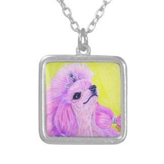 Princess Poodle Square Pendant Necklace