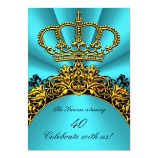 "Princess Prince King Queen Gold Teal Birthday 5"" X 7"" Invitation Card"