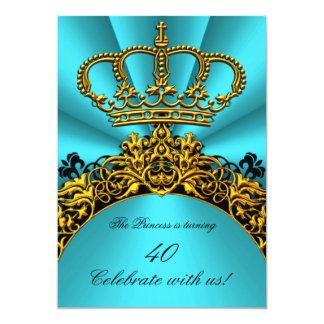 Princess Prince King Queen Gold Teal Birthday 13 Cm X 18 Cm Invitation Card