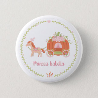 Princess Pumpkin Carriage Floral Wreath Button