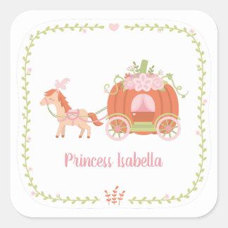 Princess Pumpkin Carriage Floral Wreath Sticker