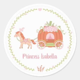 Princess Pumpkin Carriage Wreath Girls Sticker