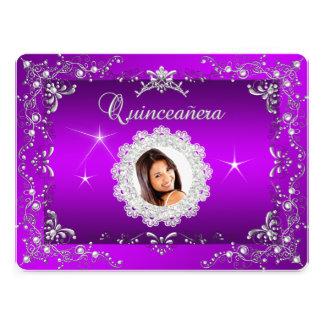 Princess Purple Magenta Quinceanera Silver Tiara Personalized Invitation