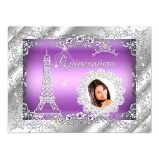 """Princess Purple Quinceanera Silver Photo BIG 6.5"""" X 8.75"""" Invitation Card"""