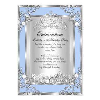 Princess Quinceanera 15th Birthday Blue Silver 13 Cm X 18 Cm Invitation Card