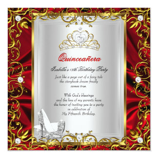 Princess Quinceanera 15th Birthday Red Royal 13 Cm X 13 Cm Square Invitation Card