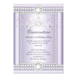 Princess Quinceanera Lilac Hearts Diamond Tiara 13 Cm X 18 Cm Invitation Card