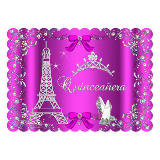 Princess Quinceanera Magical Hot Pink Silver Heels Cards