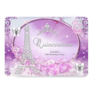 Princess Quinceanera Magical Purple Silver 5x7 Paper Invitation Card