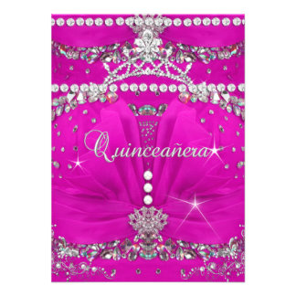 Princess Quinceanera Pink Bejewelled Dress Invite