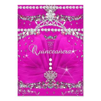 Princess Quinceanera Pink Bejewelled Dress 4.5x6.25 Paper Invitation Card