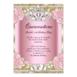 Princess Quinceanera Pink Gold 15th Birthday Party 13 Cm X 18 Cm Invitation Card