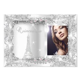"Princess Quinceanera Silver Photo Party 5"" X 7"" Invitation Card"