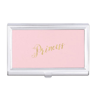 Princess Quote Faux Gold Foil Glitter Background Business Card Cases