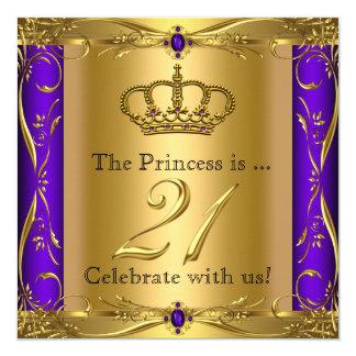 Princess Regal Purple Gold 21st Birthday Party 13 Cm X 13 Cm Square Invitation Card
