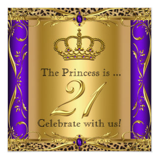 "Princess Regal Purple Leopard 21st Birthday Party 5.25"" Square Invitation Card"