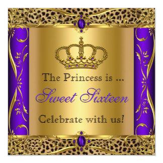 Princess Regal Purple Leopard Sweet 16 Party 13 Cm X 13 Cm Square Invitation Card