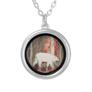 Princess Riding King Polar Bear Silver Plated Necklace
