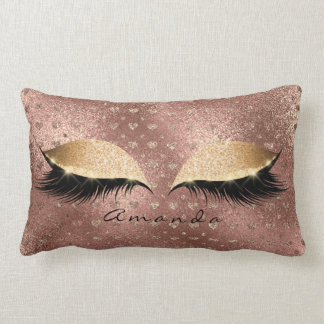 Princess Rose Gold Glitter Lashes Name Hearts Lumbar Cushion