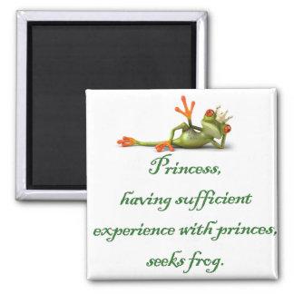 Princess Seeks Frog Square Magnet