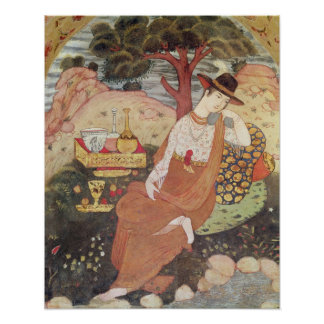 Princess sitting in a garden, Safavid Dynasty Poster
