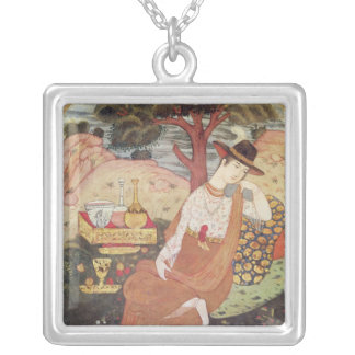 Princess sitting in a garden, Safavid Dynasty Silver Plated Necklace
