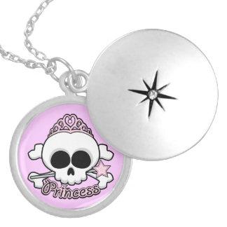 Princess Skull Round Locket Necklace