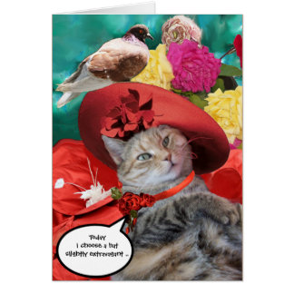 PRINCESS TATUS CAT,RED HAT AND PIGEON Mother's Day Card