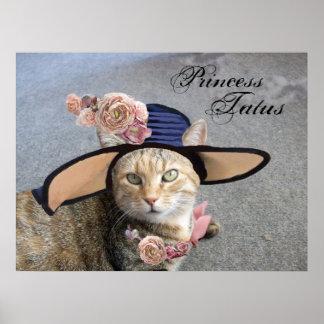PRINCESS TATUS /ELEGANT CAT,BIG DIVA HAT AND ROSES PRINT