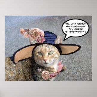 PRINCESS TATUS /ELEGANT CAT,BIG DIVA HAT AND ROSES POSTER