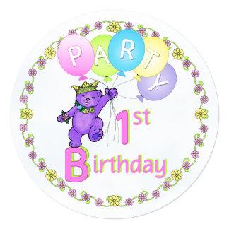 Princess Teddy Bear 1st Birthday Party Custom Announcement