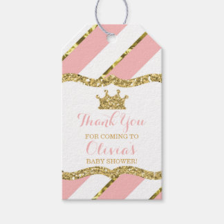 Princess Thank You Tag, Pink, Faux Glitter, Crown Gift Tags