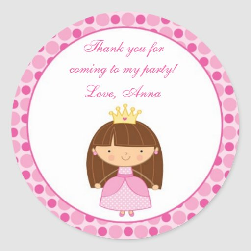 Princess Thank You Tags Personalised Stickers