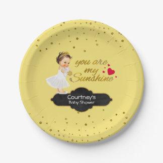 Princess Tiara Baby Girl Shower | My Sunshine Gold Paper Plate