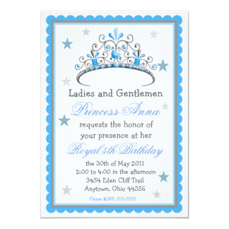 "Princess Tiara Birthday Invitation 5"" X 7"" Invitation Card"