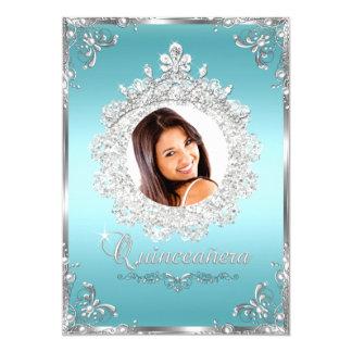 "Princess Tiara Blue Silver Sparkle Quinceanera 5"" X 7"" Invitation Card"