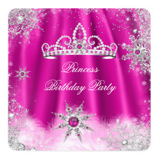 Princess Tiara Hot Pink Snowflake Birthday Party 13 Cm X 13 Cm Square Invitation Card