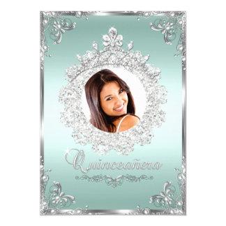 Princess Tiara Mint Silver Sparkle Quinceanera 5x7 Paper Invitation Card